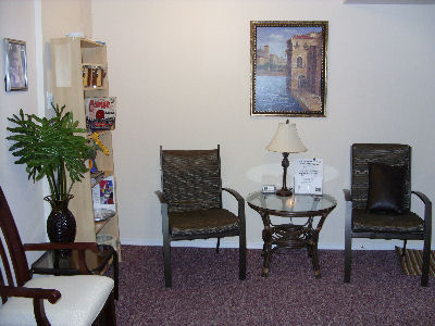 Our spacious, comfortable waiting room has complementary refreshments